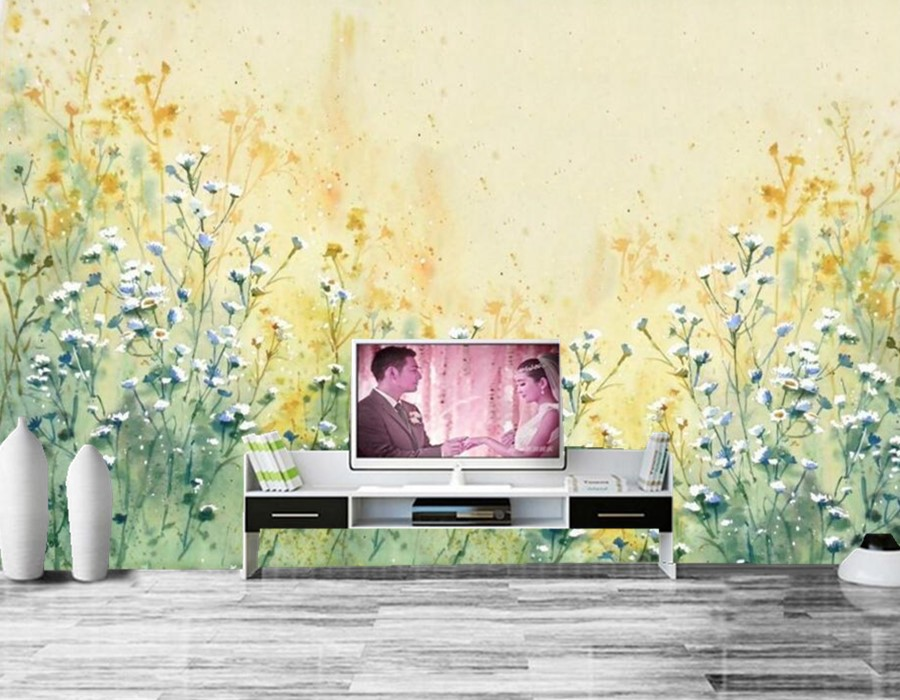 Modern minimalist hand-painted flower painting papel de parede,restaurant living room TV sofa wall bedroom 3d wallpaper murals.<br>