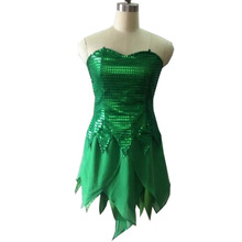 2016 Tinker Bell Fairy Cosplay Costume Customize Tinkerbell Cosplay Dress Only Dress No Wig No Wing