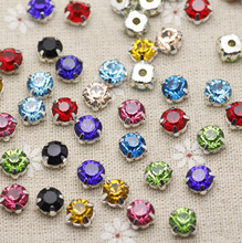 200pcs 3.8mm Colorful Mix color Silver Base Sew On Stone With Claws Plated Setting Chatons Crystal Glass Stones Dress Decoration