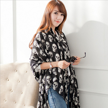 2014 High Quality Women Cape Shawl Skull Scarf Winter Chiffon Scarves Wrap Shawl Cachecol Prices In Euros