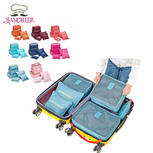 6 PCS Waterproof Nylon  Travel Storage Bag Set For Clothes Tidy Organizer Pouch Suitcase Home Closet Divider container Organiser
