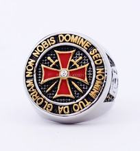 free shipping unique stainless steel knights templar ring jewelry with high quality,custom design cheap wholesale(China)