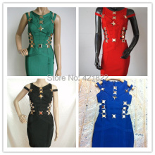 2014 top quality New arrival green metal red black white blue Bandage Ladies Bandage Party Dress HL dropship and wholesale(China)