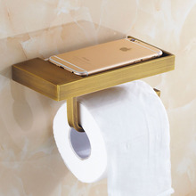 Antique Brass Brushed Toilet Paper Holder and Hook Roll Paper Rack with Phone Shelf Wall Mounted Bathroom Products