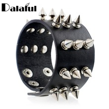 Punk Gothic Rock Three Row Metal Cone Stud Spikes Rivet Leather Wristband Bangle Wide Cuff Bracelet S158