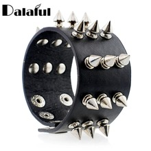 Punk Gothic Rock Three Row Metal Cone Stud Spikes Rivet Leather Wristband Bangle Wide Cuff Bracelet S158(China)