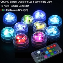 Free shipping 20pcs Battery operated Remote control Colorful Submersible LED light, LED vases base light for wedding celebration(China)