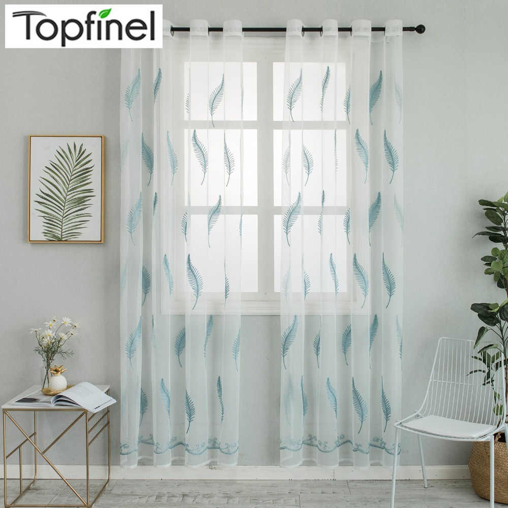 Topfinel Modern Feather Embroidered Voile Tulle Curtains for Living Room Bedroom Home Decorative Sheer Curtains for Kitchen