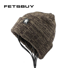 [FETSBUY] Winter Beanies Knitted Hat Mens Skullies Casual Cap Bonnet Hants Five Star Hat High Quality Cap Men Woman Gorrs 18019(China)