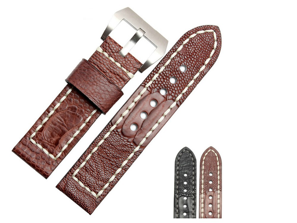 Watch strap 24mm 26mm New men Black Real Genuine Ostrich Foot Skin Leather Watchbands Straps Brushed Steel watch buckle<br>