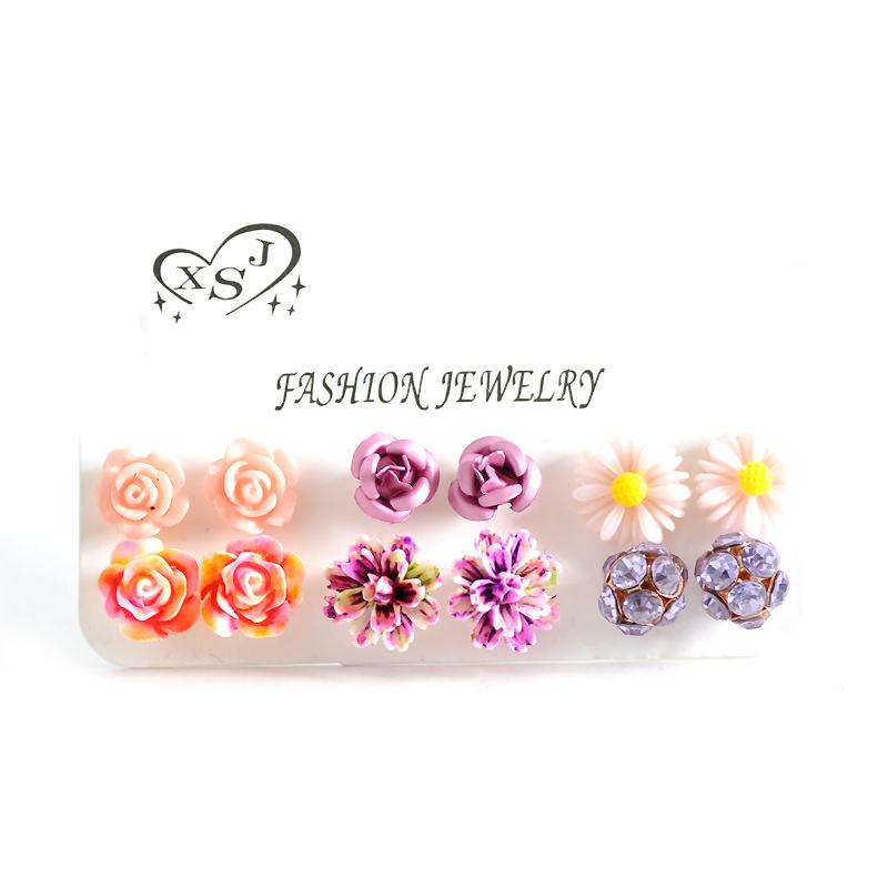 Hot new fashion women jewelry, girls birthday party flower shaped stud earrings, beautiful powder, purple yellow green Earrings 28