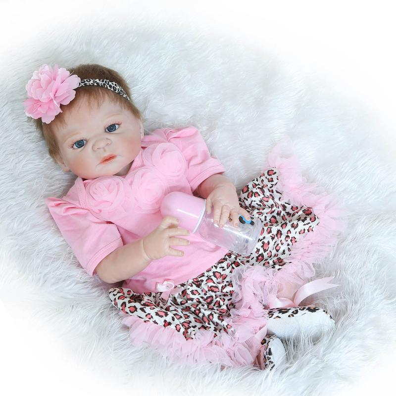 55cm Full body silicone reborn baby doll toys lifelike newborn girl babies kids child brithday gift girls brinquedos Bathe Toy<br><br>Aliexpress