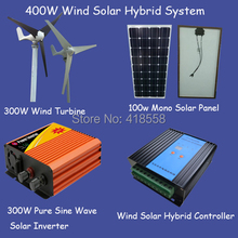 solar 400w solar cell for placa solar 100w 300w wind turbine/ 500w pure sine wave inverter/ 600w wind solar hybrid controller