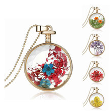NingXiang Sunflower Gold Color Perfume bottle Red Dried Flower Glass Girls necklaces for women Fashion ladies Choker Necklace