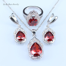 L&B Red created Garnet Jewelry Sets For Women silver 925 Ring Pendant Necklace Earrings Bracelet