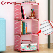 COSTWAY Fashion Simple Non-woven Bookshelves Three-layer Dormitory Bedroom Storage Shelves Bookcase Boekenkast Librero W0108