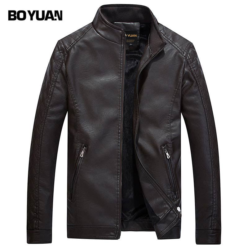 BOYUAN Brand Clothing PU Jacket Chaquetas De Cuero Hombre 2017 Mens pu Leather Jacket 3 Colors Leather Jacket Men Big Size BY602(China)