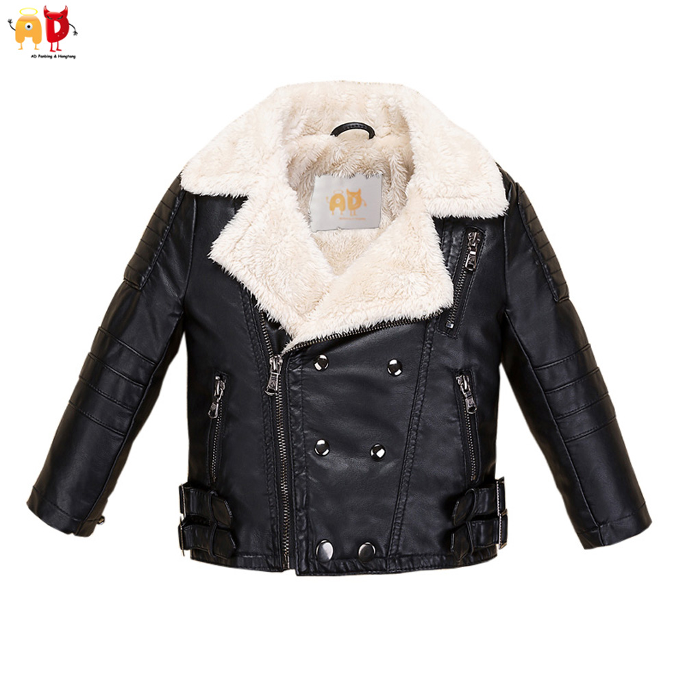 AD Fleece Faux Leather Jacket for Boys Girls Kids Winter Coat Water Resistant Wind-proof Breathable Leather Childrens Clothing<br>