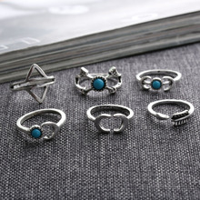 New 6 Pcs Bohemia Arrow Moon Statement Midi Rings Set Women's Fashion Jewelry