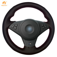 MEWANT Black Genuine Leather Car Steering Wheel Cover for BMW E60 E63 E64 M5 2005 2007 2008 M6 2007