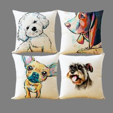 2017 Creative Fashion Style Lovely Dog Home Decor Cushion Cover Home Decorative Floral Printed Throw Pillowcase Cojines Almofada(China)