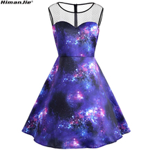 Himanjie Print Stars Clouds Nebula Galaxy Lovers Mesh Sleeveless Party Dress Women 2017 Autumn Pinup Vintage Dresses Vestidos(China)
