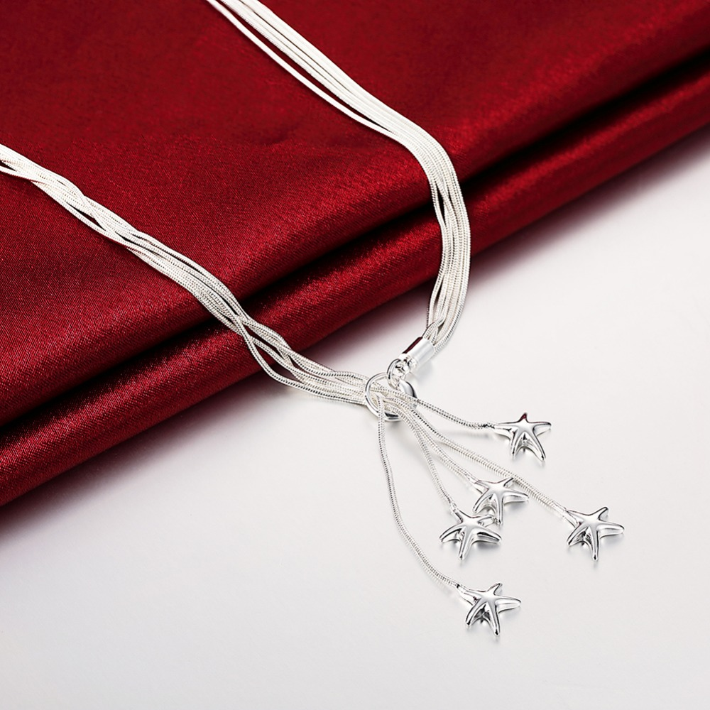 2017 New Top Quality Silver Plated & Stamped 925 five starfish pendant necklace for women fine jewerly wholesale promotion(China (Mainland))