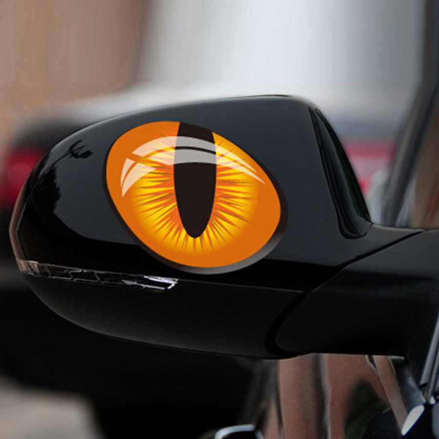 Best 12 10cm 1pair Cute Simulation Cat Eyes Car Stickers