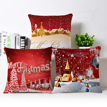 45x45cm Merry Chirstmas Full Printed Cotton Linen Pillow Case Cushion Case Cover Christmas Home Decorative Sofa Cushion Cover(China)