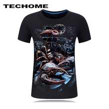 2017 Summer Men Brand Clothing O-Neck Short sleeve Animal T-shirt Scorpion,Dolphin 3D Digital Printed T shirt Homme 5XL 6XL Size