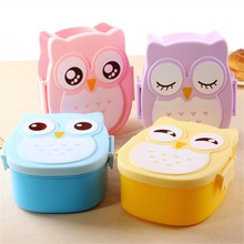 Cute Owl Plastic Lunch Box Children Students Cartoon Lunch Box Case Bento Box Portable Picnic Dinnerware Thermal Bag With Spoon