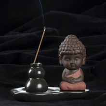2016 New Creative Ceramic Yixing Purple Clay Zen Buddha Gourd Backflow Censer Base Joss Aroma Stick Incense Coil Incense Burner(China)