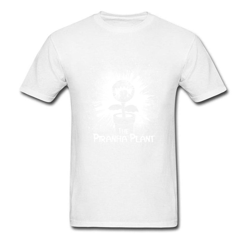 The Piranha Plant Young Designer Summer Tops Shirt O-Neck Summer/Autumn Cotton T Shirts Simple Style Short Sleeve Tops Shirt The Piranha Plant white