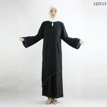Stock -Crystal linen abayas for women , Fashionable Hot fix rhinestone muslim clothing abaya dress 122713(China)