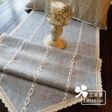 Zakka bed mat gray Party home decor linen banquet blue stripes streak cotton tablecloth table runner