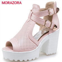 MORAZORA 2017 Platform shoes women high heel zipper big size 34-43 fashion summer shoes woman sandals party hot sale(China)