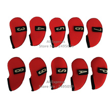 Free Shipping Golf Iron Club headcovers 10pcs/set 3,4,5,6,7,8,9,PW, SW, AW Red wiht Number Tag High-quality golf club protective(China)