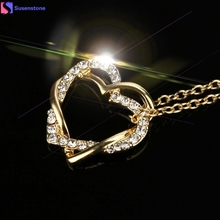 Double heart winding high-grade clavicle chain New Fashion Women Double Heart Pendant Necklace Chain Jewelry #45(China)