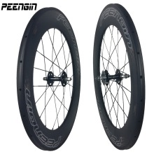 UCI test/EN standard manufacturer sale 88mm carbon fixed gear clincher Wheels U shape tubular rim track bike wheelset 25mm wide(China)
