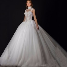Exquisite High Collar Appliqued Beaded Pearls Sleeveless Sheer Ball Gown Puffy Wedding Dresses vestido de noiva