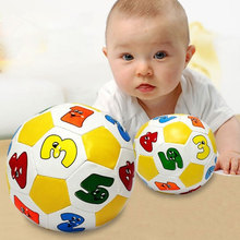 Baby Toy Ball Cartoon Football/Soccer With Bell Rattle Alphabet Number Learning Develop Intelligence Kids Early Education Toys(China)