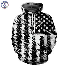 Mr.1991INC New Fashion Hooded Sweatshirt Men/women Hooded Hoodies 3d Print Black White USA Flag Unisex Pullovers(China)