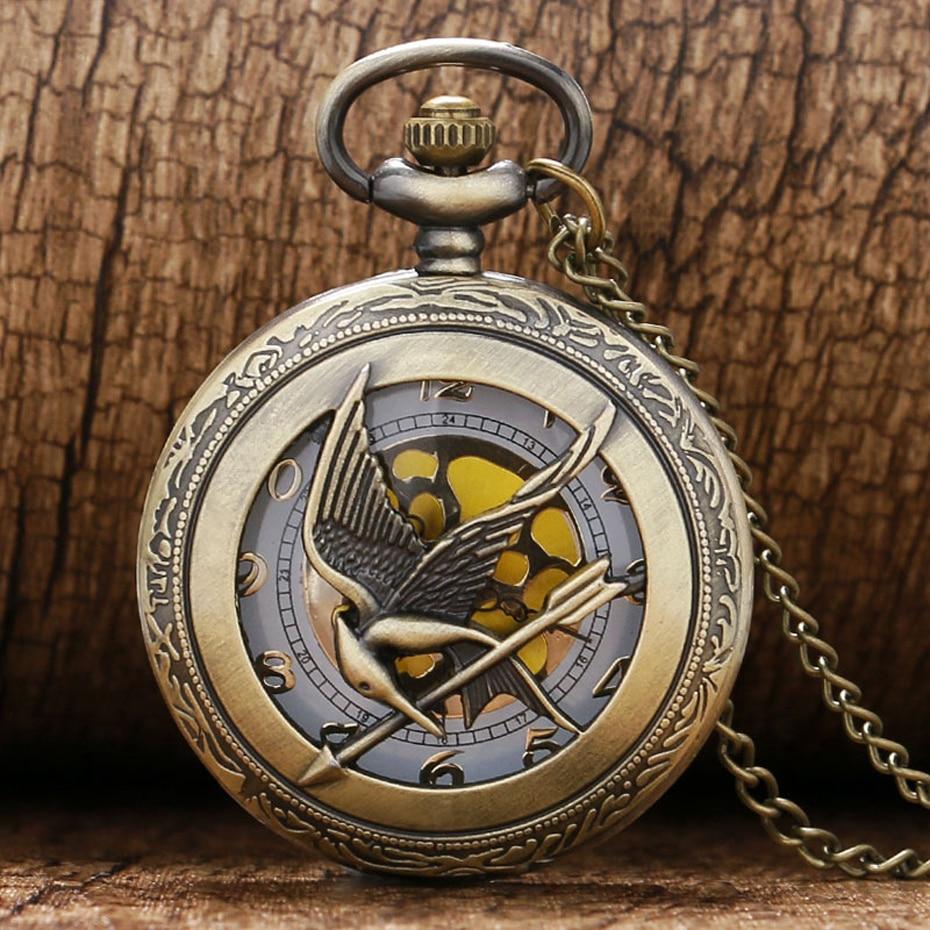 Retro Quartz Watch The  Theme Hollow Bronze Pocket Watch Bird Design Men Women Clock Vintage Pendant Gifts (2)