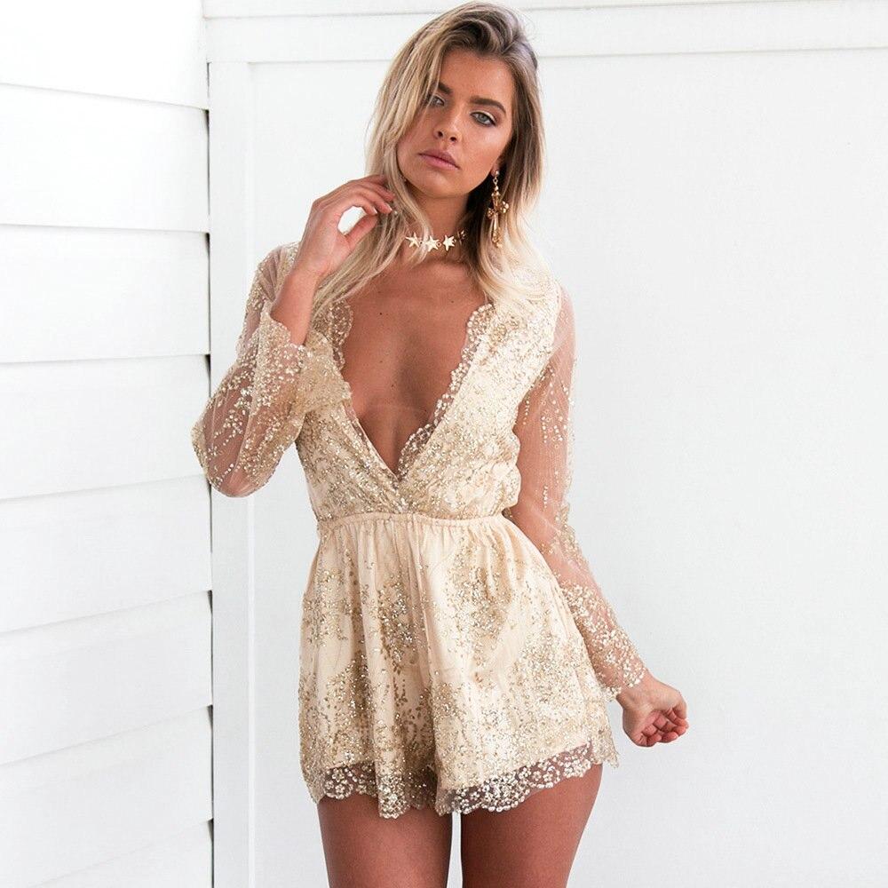 Deep v golden sequin playsuit women Tassel short mesh bodysuit summer beach club elegant jumpsuit rompers embroidery leotard 730