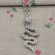 Creative Fashion Antique Silver snake cobra Charm Pendant Necklace, Circular Cross Chain Made of Handmade Jewelry