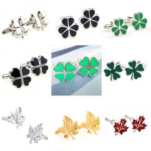 Trendy Black Green Silver Clover Gold Red Maple Leaf Cufflink Cuff Link 1 Pair Free Shipping Big Promotion