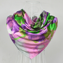 [BYSIFA] 90*90cm Fashion Purple Grey Polyester Silk Scarf Hijab Printed For Wome New Style Women Big Square Silk Scarf Shawl(China)