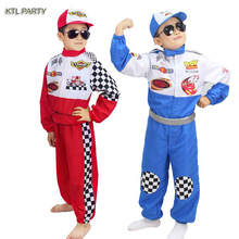 KTLPARTY halloween party cosplay boy red blue children kid racer car grave digger driver tracer super costume clothing pants hat