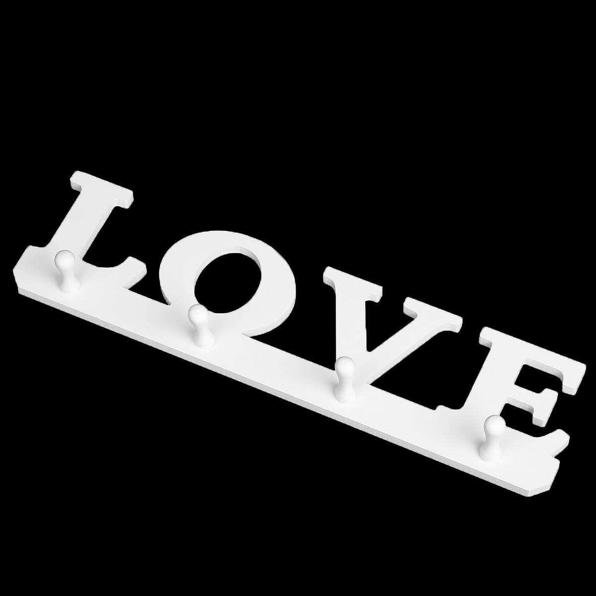 1pc White LOVE Hanger 4 Hooks Clothes Robe Hat Holder Towel Bag Key Holders Wall Hanger for Door Bathroom
