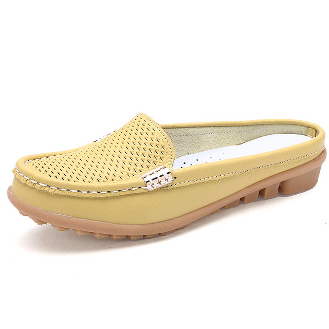 New arrival solid women  summer slippers flip flops Genuine Leather flat Slippers ladies slip on flats clogs shoes woman